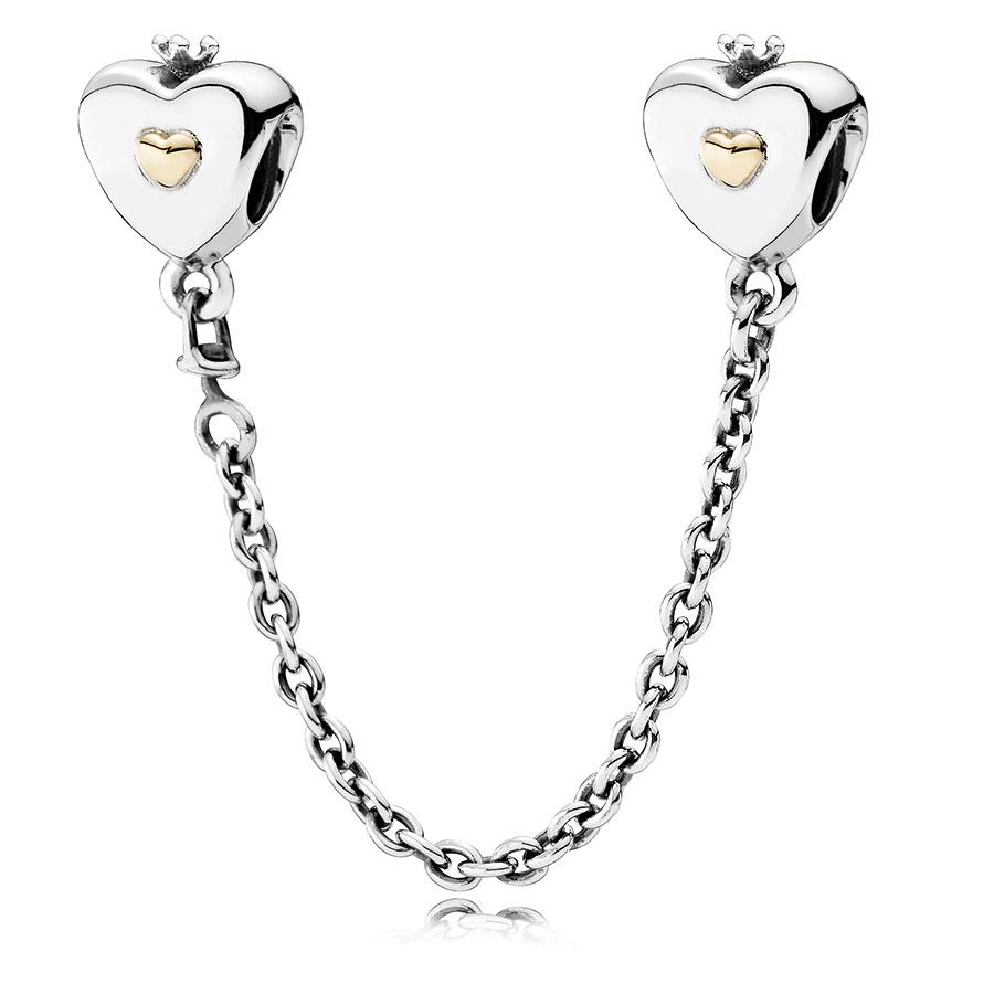 ca8d2e5f4dc7 Abalorio Pandora Cadena de Seguridad Corazón y Corona 791878-05