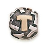 T SILVER AND GOLD PANDORA BEAD 790298T
