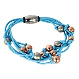 TRINKET BRACELET BLUE MAGNETIC BALLS DIPPED IN ROSE GOLD AND SILVER 8435334801412 DEVOTA AND LOMBA Devota & Lomba