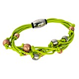 TRINKET BRACELET GREEN MAGNETIC BALLS DIPPED IN ROSE GOLD AND SILVER 8435334801399 DEVOTA AND LOMBA Devota & Lomba