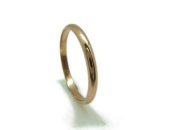ANILLO Alianza y aro boda media caña en oro rojo MCOV15 B-79