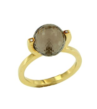 STONE AND DIAMOND YELLOW GOLD RING