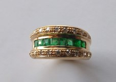 RING OF EMERALDS AND DIAMONDS IN 18K GOLD