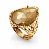 RING GOLD PLATED AND GEM IS CAT'S EYE MRS. BIJOUX VICEROY B1068A015-04