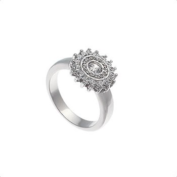 RING WHITE GOLD 18 KT WITH MOTIF ROSETTE 0,70 CTS DIAMONDS, CRESBER