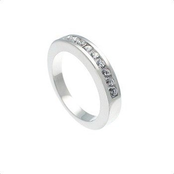 BAGUE EN OR BLANC 18 KT, DE L\'ALLIANCE MÉDIAS DE 0,25 CTS DE DIAMANTS, CRESBER
