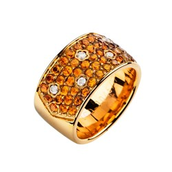Bague or, citrine et diamants. LCD-3045/19 Oreage