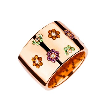Anillo de oro con diamantes y piedras preciosas. LCD-3041/45 Oreage