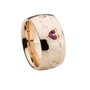Rose le rhodolite grenat et diamant anneau en or. LCD-3042/47 Oreage