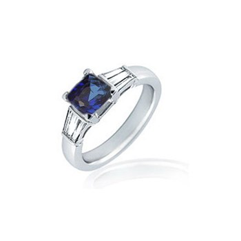 RING WHITE GOLD 18 KT WITH 0,32 CTS DIAMONDS TAYPER AND 0.45 CT OF NATURAL SAPPHIRE , CRESBER