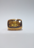 SILVER RING WITH GOLD PLATED YELLOW CITRINE ROBERTO COIN