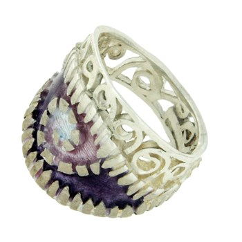 RING OF SILVER WITH ENAMELS