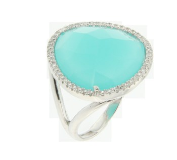 Silver ring with stone Amazonite