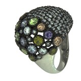 SILVER RING WITH STONES OF COLORS 301 LineArgent