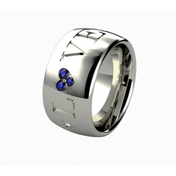 SILVER, SAPPHIRE AND DIAMOND RING. LCD-3042/108 Oreage