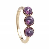 RING LASTING SILVER-PLATED ROSE GOLD AND AMETHYSTS 00505964 DURAN EXQUSE