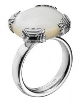 Emporio Armani silver and mother of Pearl ring
