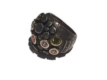 RING IN SILVER AND 10 NATURAL TOURMALINE ASP637 Styliano