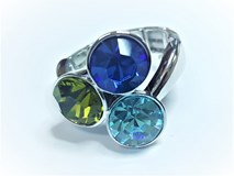 RING IN RHODIUM ELASTICO WITH 3 SWAROVSKI CRYSTALS - OWN - SWRR1801