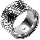 RING MAN STEEL AND ENAMEL EGS1094 EMPORIO ARMANI