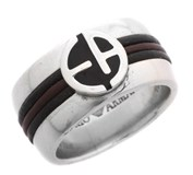 RING MAN SILVER AND LEATHER EG1785 EMPORIO ARMANI