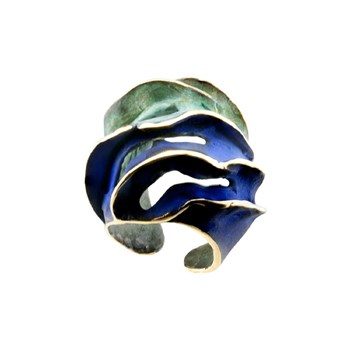 RING IN BRONZE, OPEN AND AMOLDABLE, PATINATED IN GREEN AND BLUE, DIMENSIONS FP A81-BVA FILI PLAZA