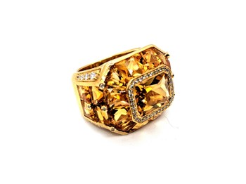 RING OREAGE CITRINE DIAMONDS