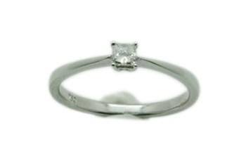 RING 18 K WHITE GOLD DIAMOND PRINCESS 10 POINTS