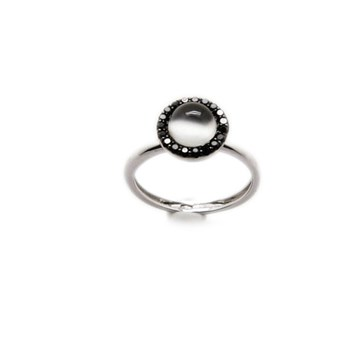 RING 18 K WHITE GOLD STONE MOON AND 19 BLACK DIAMONDS