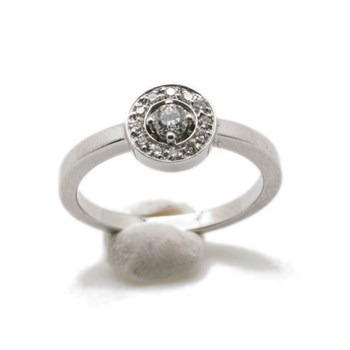BAGUE OR 18K WHITE ROSE LUMINEUX