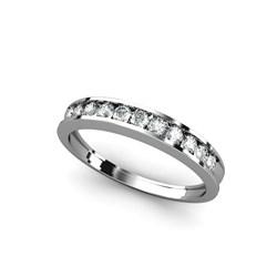 Anillo de Oro blanco  media alianza 18 kt media alianza con  0,30 cts Diamantes, Cresber 1010306114