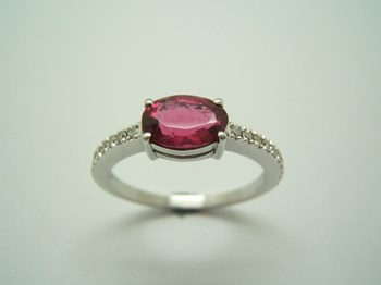 RING WHITE GOLD RUBELLITE AND DIAMOND B-79
