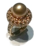 Pink gold shiny and Pearl ring