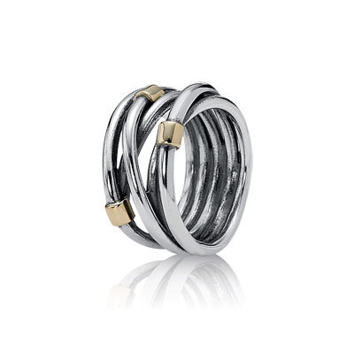 anillo pandora plata oro