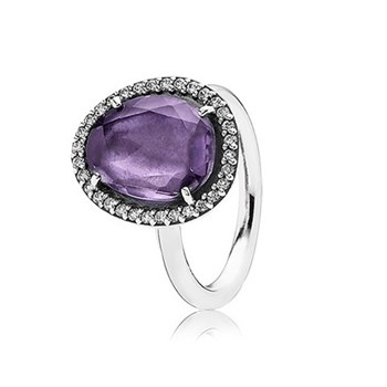 RING PANDORA SILVER AMETHYST AND STONES 190893 AM-52 190893AM-52