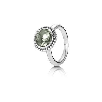 PANDORA SILVER AND GREEN AMETHYST 190620GAM - 56 RING 190620GAM-56