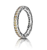 PANDORA SILVER AND STONES RING AMBER 190618CZM