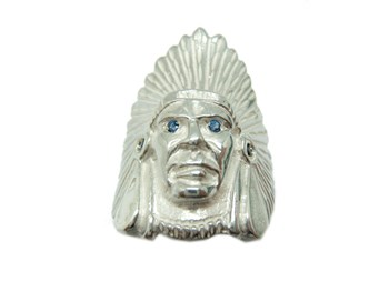 RING SILVER INDIAN HEAD AMERICAN IN-1998 B-79