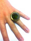 SILVER PLATED GREEN QUARTZ RING