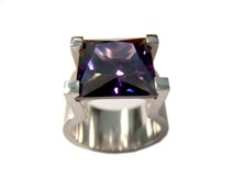 RING SILVER AND CUBIC ZIRCONIA COLOR AMETHYST