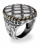 RING SILVER WITH SKIN OF COBRA R95T14 SILVER STICK Plata de palo