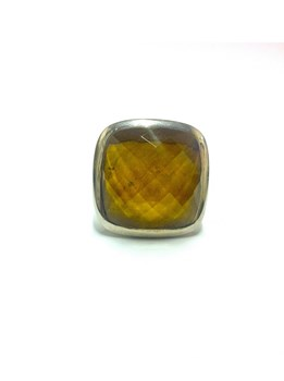 BROWN QUARTZ SILVER RING