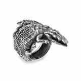 RING STERLING SILVER AGEING CROCODILE REPTILE TEXTURE CUBIC ZIRCONIA BROWN ACR2T14 SILVER STICK Plata de palo