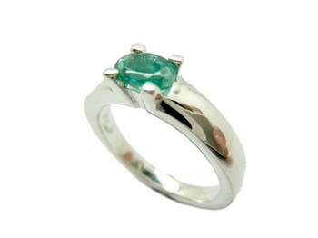 RING SILVER AND EMERALD NATURAL S-156-M1 B-79