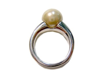 RING SILVER AND PEARL SHELL WHITE