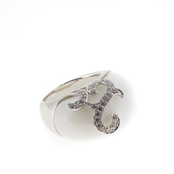 RING SILVER WHITE STONE AND STONES  Stradda 15S54