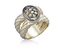 BATH OF GOLDEN COLOR AND ZIRCONITAS 9175SD STERLING SILVER RING Marina Garcia