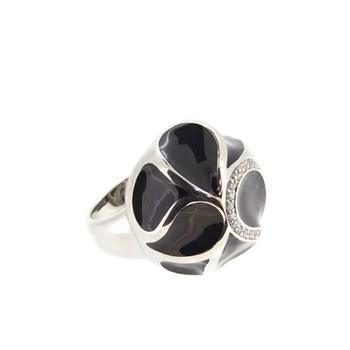 Bague argent cailloux pierre Stradda noir  15S55