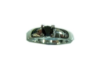 RING SILVER AND BLACK DIAMOND BRILLIANT CUT