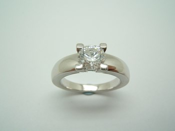 RING SOLITAIRE CUBIC ZIRCONIA AND SILVER B-79 S-109-SW